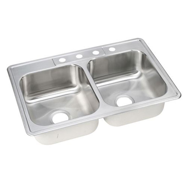 "Elkay DSE233224 Dayton Self-rimming Double Bowl 33"" x 22"" Kitchen Sink with 4 Faucet Holes Stainless Steel"