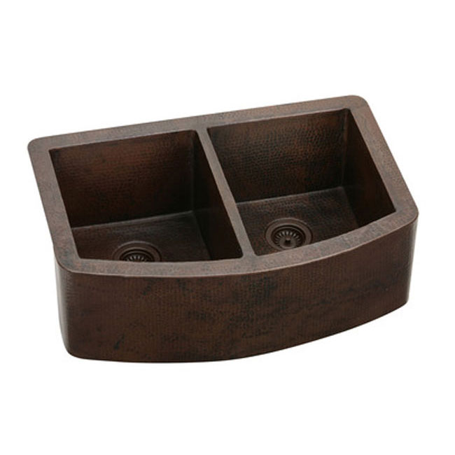 "Elkay ECUF3319ACH Gourmet 33"" x 22"" Curved Front Apron Undermount Double Bowl Farmhouse Kitchen Sink Antique Copper"