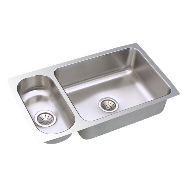 "Elkay ELUH3219 Lustertone 32"" x 19"" Double Bowl Undermount Kitchen Sink Stainless Steel"