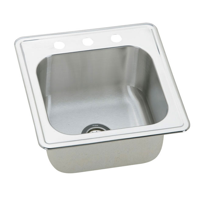 "Elkay ESE2020103 Elite 20"" x 20"" Three Hole Single Bowl Drop-In Kitchen Sink Stainless Steel"