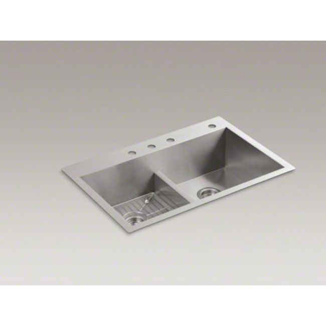 "Kohler K-3838-4-NA Vault 33"" x 22"" Smart Divide Self-rimming or Under-mount Double-equal Bowl Kitchen Sink with Four Faucet Holes"