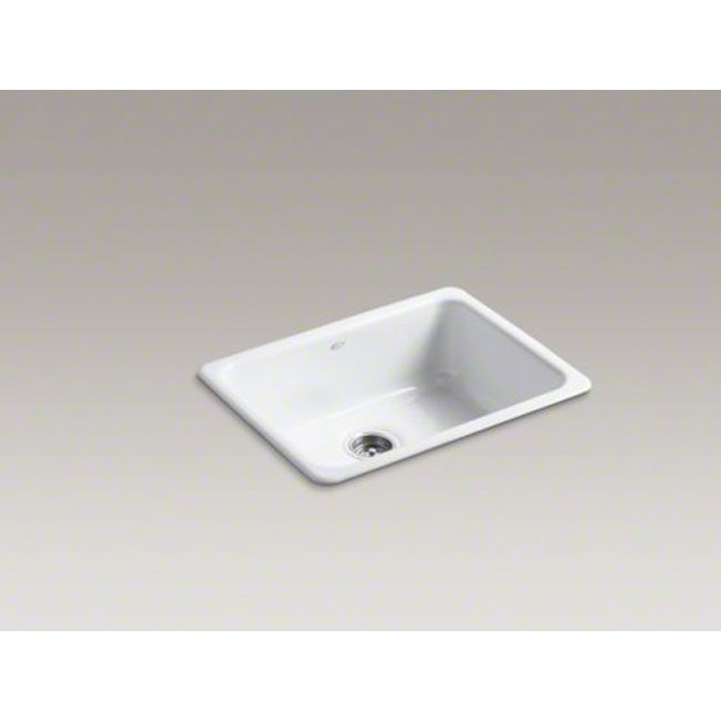 "Kohler K-6585-0 Iron/Tones 25"" x 19"" Dual-mount Single-bowl Kitchen Sink White"