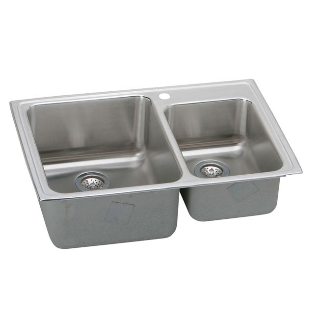 "Elkay LFGR33223 Lustertone 33"" x 22"" Three Hole Double Bowl Drop-In Kitchen Sink Stainless Steel"