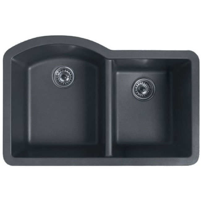 Swanstone QUDB-3322077 Undermount Large and Medium Double Bowl Granite Kitchen Sink Nero