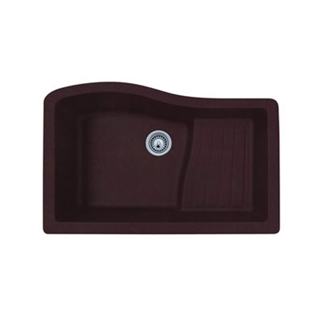 "Swanstone QUAD-3322.170 Undermount 33"" x 22"" Single Ascend Bowl Granite Kitchen Sink Espresso"