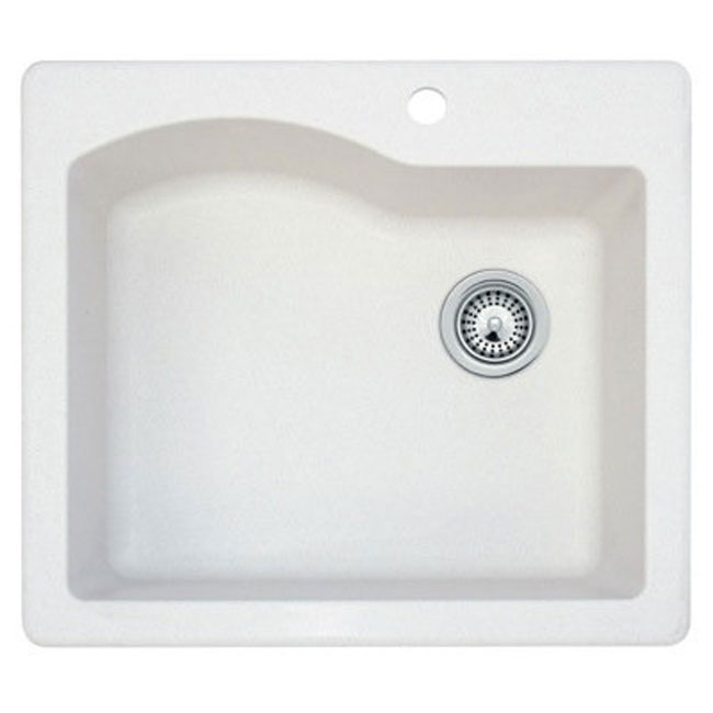 Swanstone QZSB-2522075 Single Bowl Self-rimming Kitchen Sink Bianca