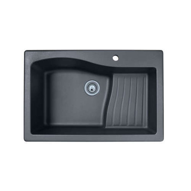 "Swanstone QZAD-3322.170 Self-rimming 33"" x 22"" Single Ascend Bowl Granite Kitchen Sink Espresso"