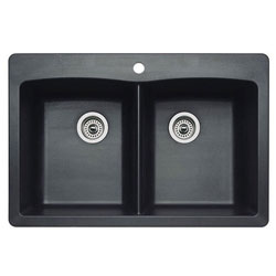 "Blanco 440220 Diamond 22"" x 32"" 1 to 5 Holes Double Bowl Silgranit Universal Mount Kitchen Sink Anthracite"