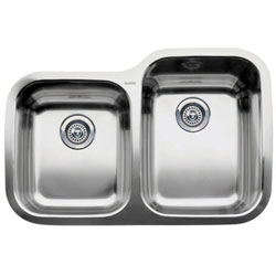 "Blanco 440233 Supreme 31"" x 21"" Double Bowl Undermount Kitchen Sink Stainless Steel"